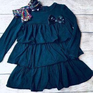 Wonderkids 4T Black Tiered Dress+Bow